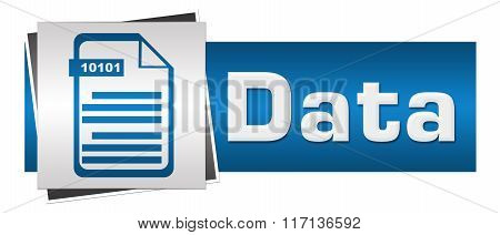 Data With File Icon Blue Grey Horizontal