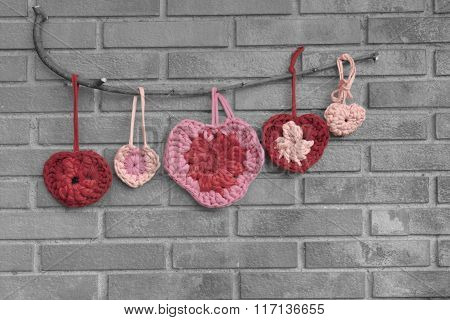 Valentine Crochet Decorations Hearts Black And White