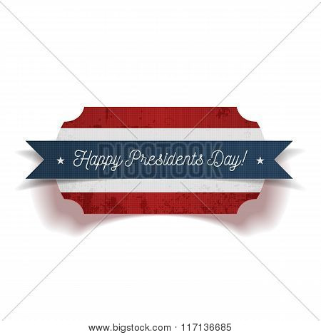 Happy Presidents Day greeting Banner with Ribbon
