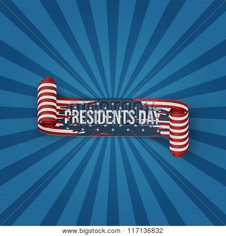 Presidents Day realistic curved textile Ribbon