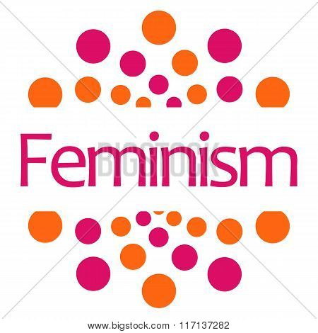 Feminism Pink Orange Dots Square Isolated