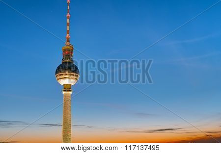 The TV Tower in Berlin at sunset