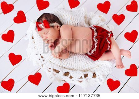 Sweet Little Newborn Baby Is Sleeping On The Background With Hearts. Concept Of Holiday Greetings Va