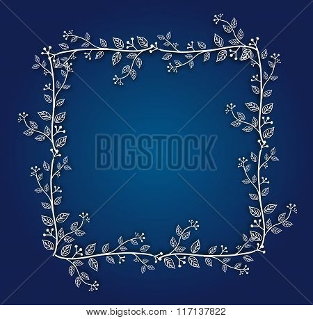 Blue Background With Floral Frame