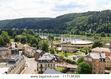 Cityscape Of Bad Schandau With Toskana Thermal Baths In Saxon Switzerland