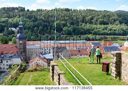 Tourists At Schlossbastei Looking At Bad Schandau In Saxon Switzerland