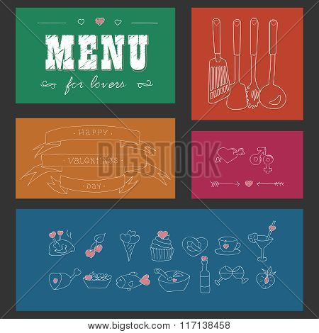 Menu for lovers. Foods with hearts. Happy Valentine's day. Doodle decor elements. Hand drawn. Color