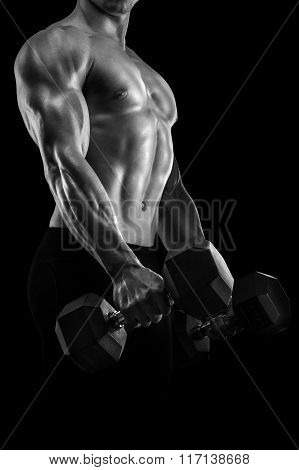 Power Athletic Man Pumping Up Muscles With Dumbbell