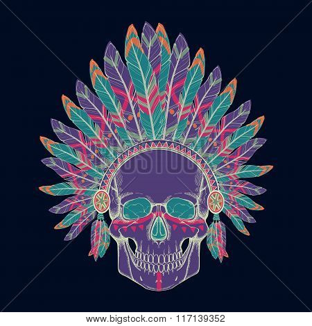 Vector Illustration Of Human Skull In Native American Indian Chief Headdress