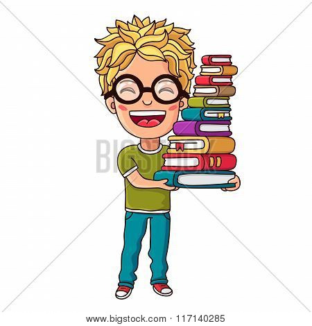 Kid With A Stack Of Book In Her Hands