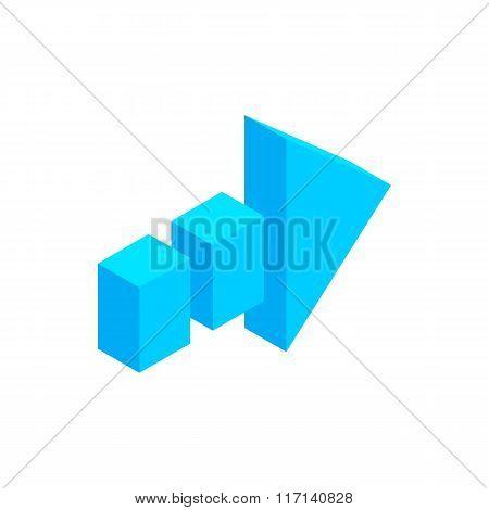 Arrow of broken line isometric 3d icon