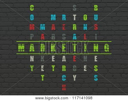 Advertising concept: Marketing in Crossword Puzzle