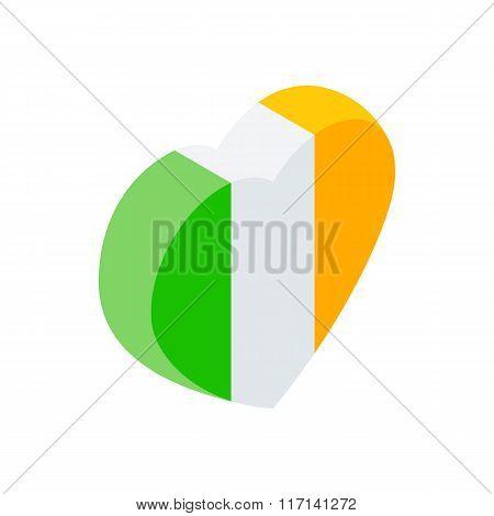 Heart in irish colors isometric 3d icon