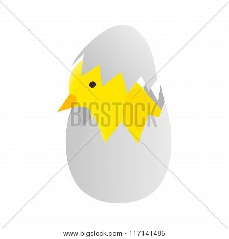 Yellow newborn chicken hatched from an egg icon