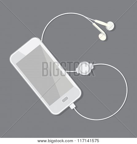 White Smartphone with plugged in headphones. Vector illustration.