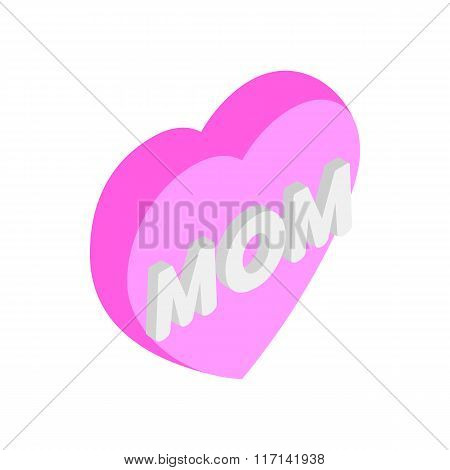 Mother Day Heart isometric 3d icon