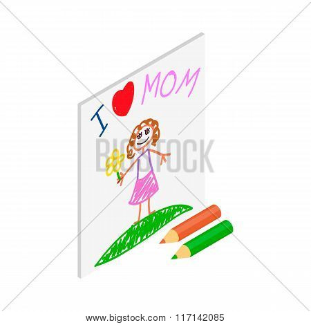 Child drawing of I love mom picture isometric icon