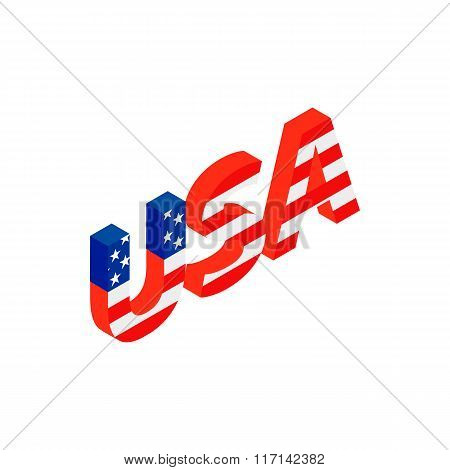 USA letters with american flag texture icon