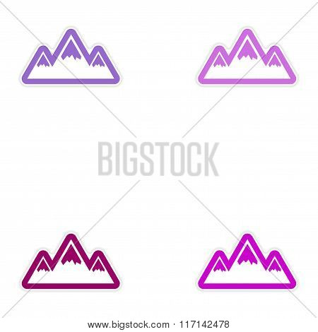 Set of paper stickers on white background Arctic mountains