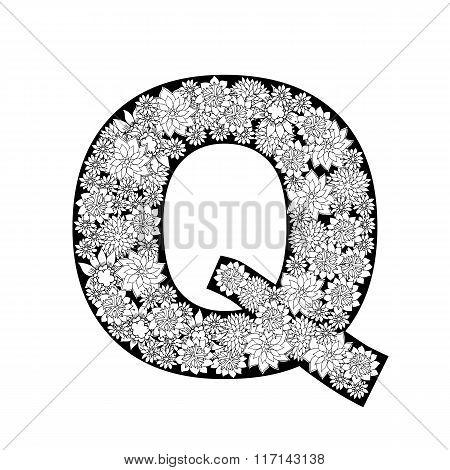 Hand drawn floral alphabet design. Letter Q