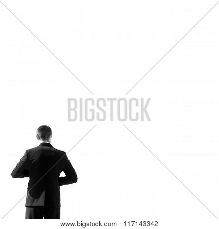 Handsome Strong Confident Groom Posing On Roof From Back B&w