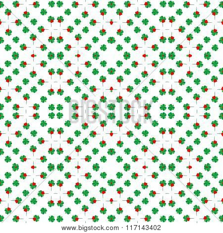 Seamless Shamrock Background Pattern With Red Heart Leaf, Saint Patrick's Day