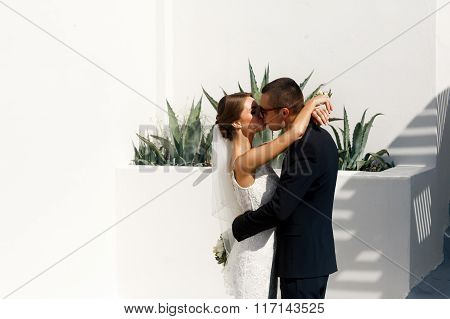Handsome Groom And Happy Brunette Bride Hugging Near Stairs In Town