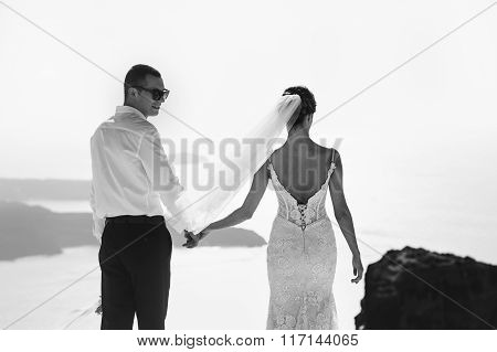 Handsome Happy Groom And Bride In White Dress Holding Hands Sea And Islands Background B&w