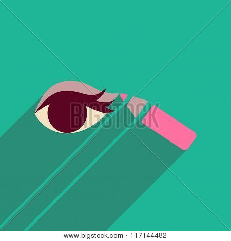 Flat icon with long shadow Eyeliner pencil