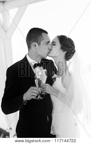 Newlywed Couple Drinking Champagne In Glasses Closeup Sea Background B&w