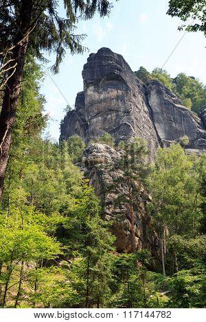 Mountain rock Schrammsteine in Saxon Switzerland, Germany