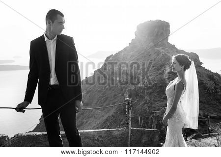 Happy Bride And Groom Looking And Posing On Stairs In Mountains B&w