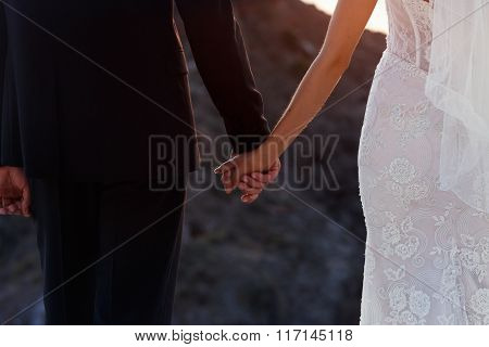 Handsome Groom In Suit And Elegant Bride Holding Hands At Sunset Closeup