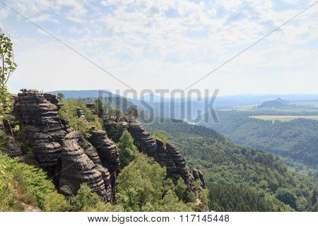 Panorama With River Elbe Seen From Schrammstein Viewing Point In Saxon Switzerland