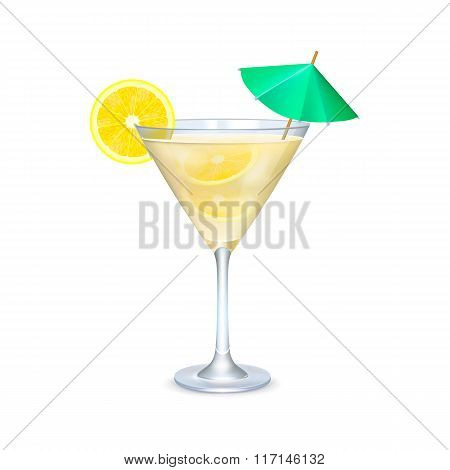 Martini glass with cocktail with lime and umbrella