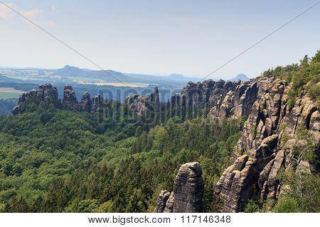 Panorama With Rocks, Mountains In Saxon Switzerland