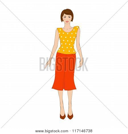 Woman in yellow blouse and orange skirt flat icon