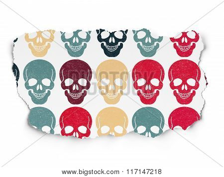 Health concept: Scull icons on Torn Paper background