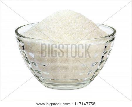 Sugar in a glass bowl