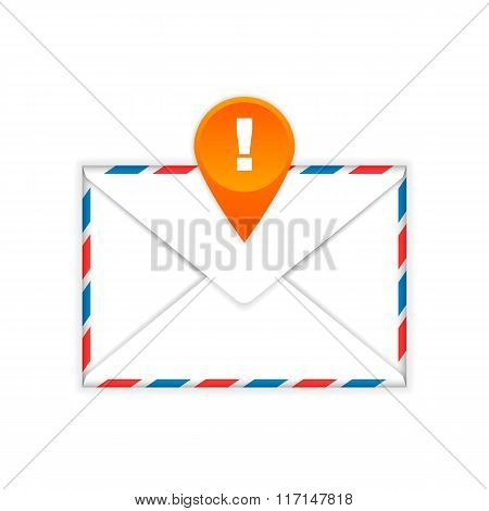 Envelope with alert  mark flat icon