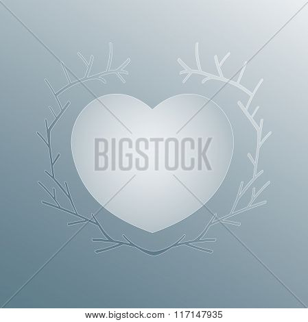 Ice heart concept in branch frame. Vector Heart on Frozen glass backround with floral ornament.