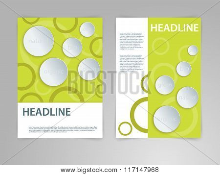 Abstract vector flyer, poster, magazine cover template in size A4 with 3D paper graphics. Eco, bio,