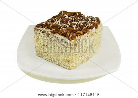 Coconut Cake On Plate Isolated On White