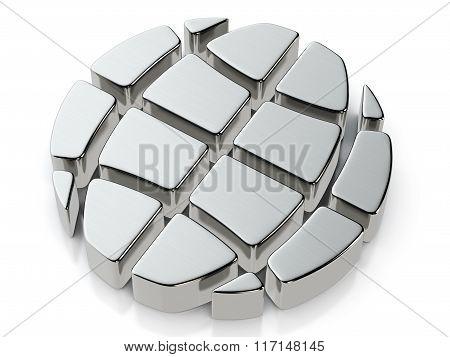 Metallic Globe Symbol