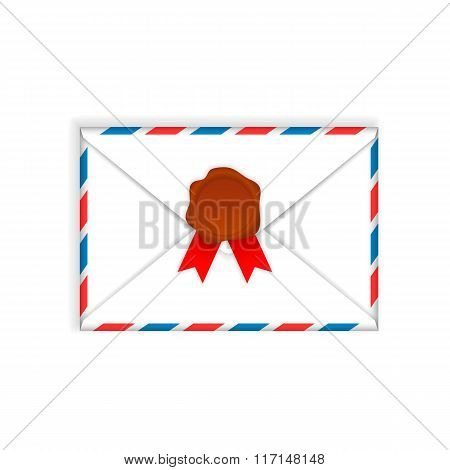 Envelope with wax seal  flat icon