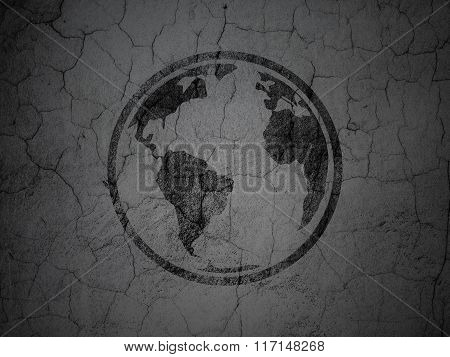 Science concept: Globe on grunge wall background