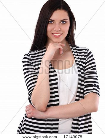 Beautiful  young woman standing isolated against white background