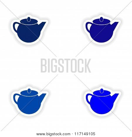 assembly realistic sticker design on paper teapot