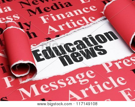 News concept: black text Education News under the piece of  torn paper
