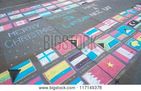 Flags Of The World Painted On The Ground